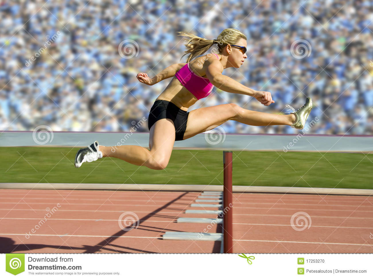 Track And Field Hurdler Athlete Stock Photo.