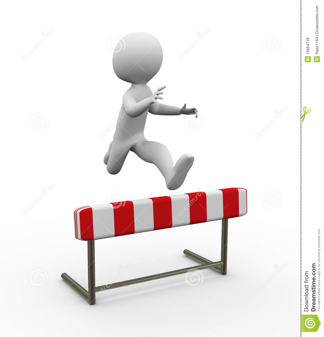 Man jumping hurdles clipart.