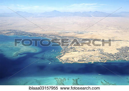 """Stock Image of """"Aerial view, Red Sea , Hurghada, Red Sea."""