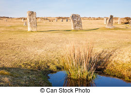 Stock Image of The Hurlers Stone Circle.