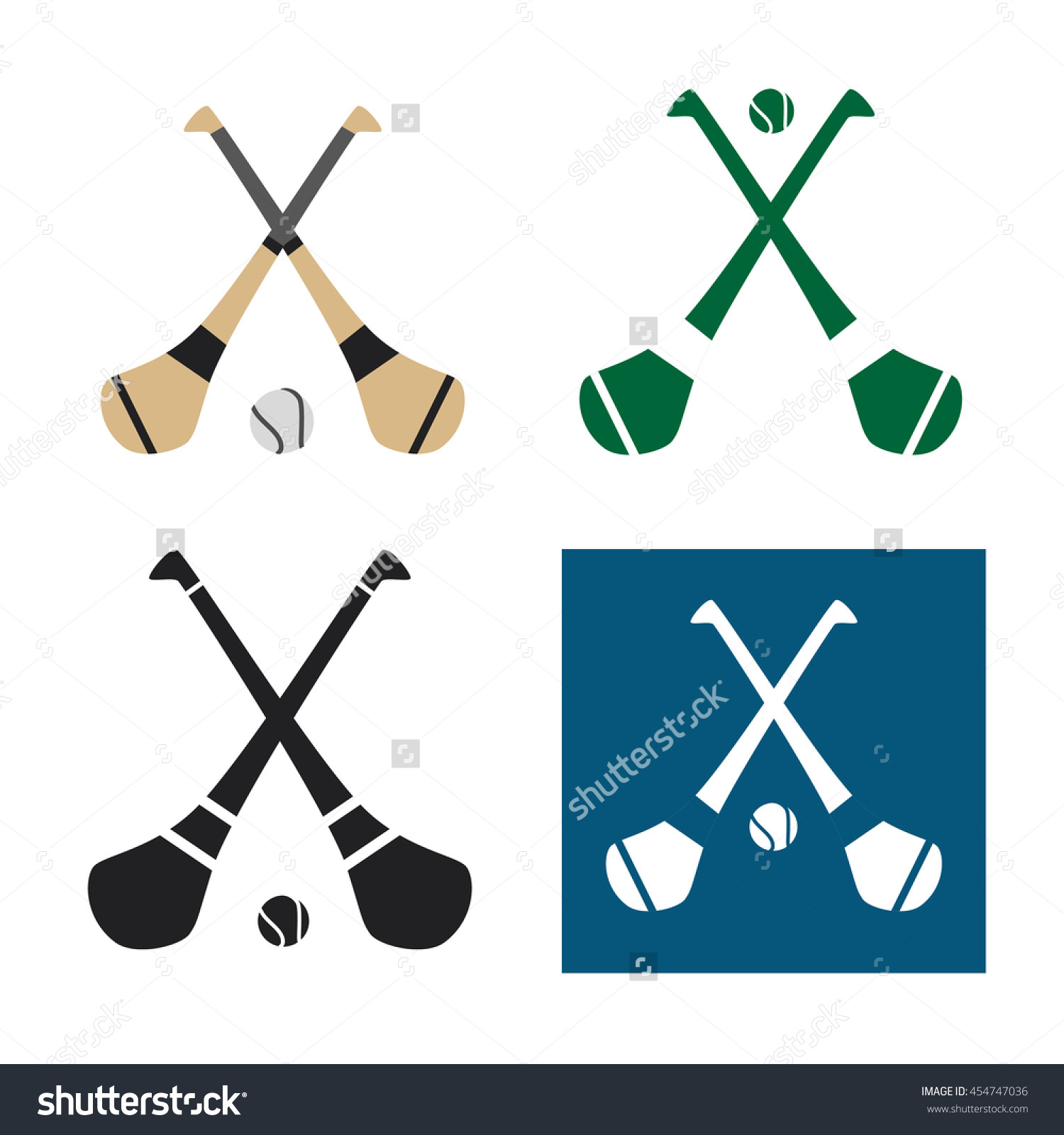 Hurling Icons Stock Vector 454747036.