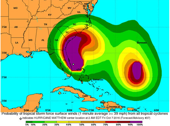 Hurricane Matthew Path: North Carolina and South Carolina warning.