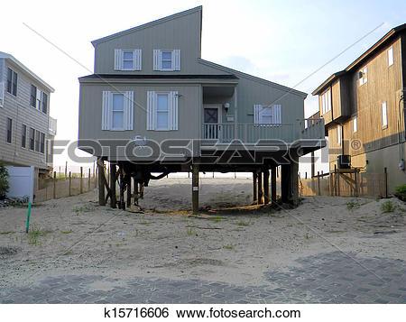 Stock Images of Hurricane Sandy LBI House Damage k15716606.