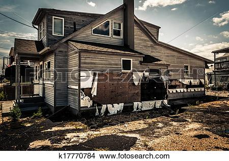 Stock Photo of House damaged by Hurricane Sandy, in Point Pleasant.
