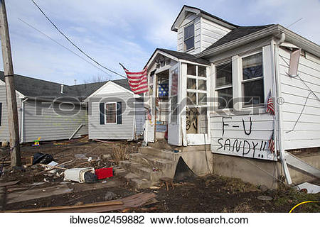 """Stock Photo of """"A house heavily damaged by Hurricane Sandy, with a."""