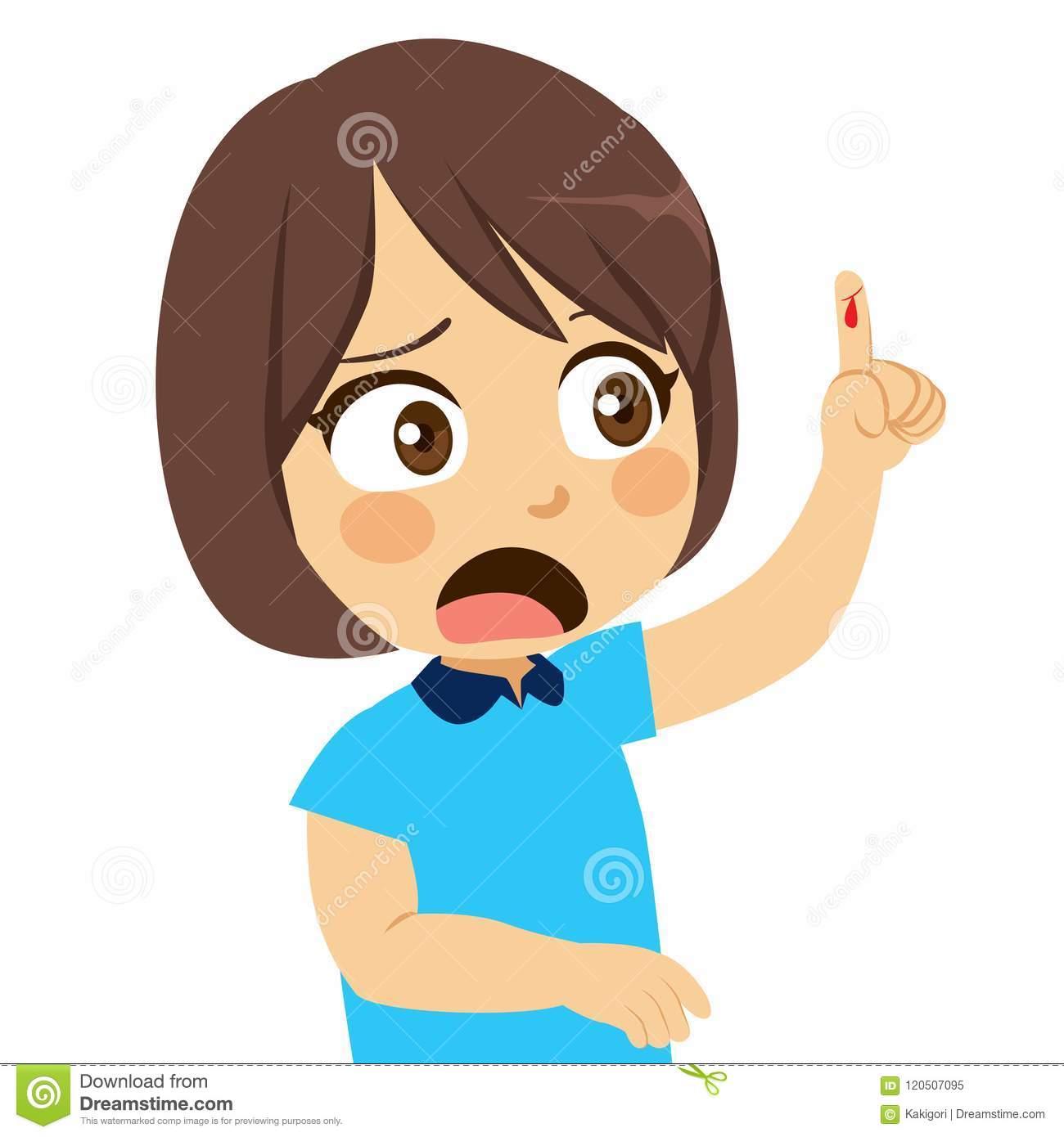 Girl Hurt Finger Stock Illustrations.