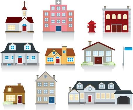 Vektor av små hus, Vektorbilder.