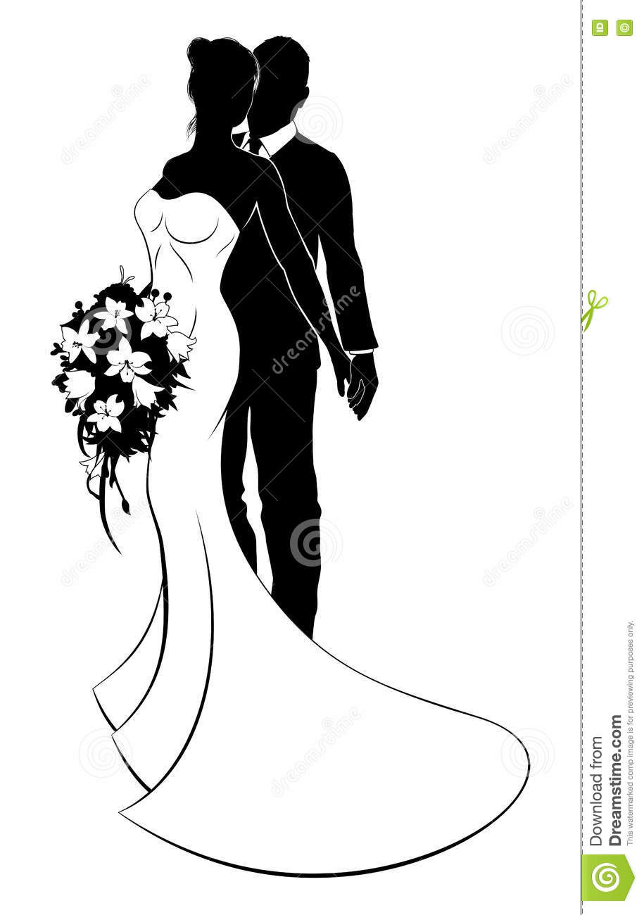 Husband And Wife Wedding Silhouette.