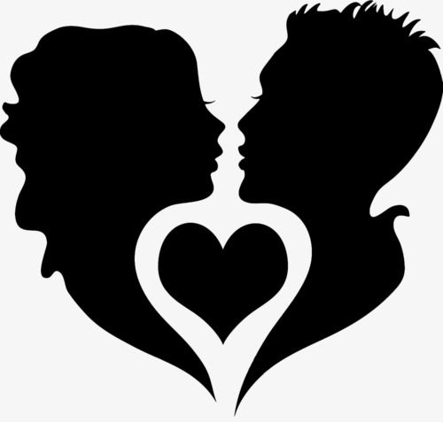 Couple Silhouette, Black Silhouette, Dancing, Heart Shaped.