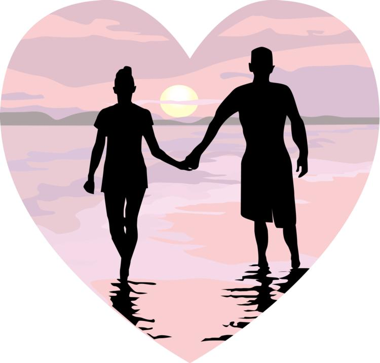 Husband And Wife Holding Hands Clipart.