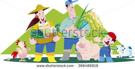 Farmers And Animal Husbandry Stock Vector Illustration 366486818.