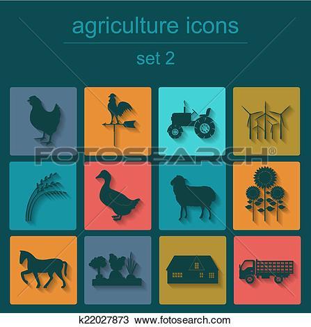 Clipart of Set agriculture, animal husbandry k22027873.