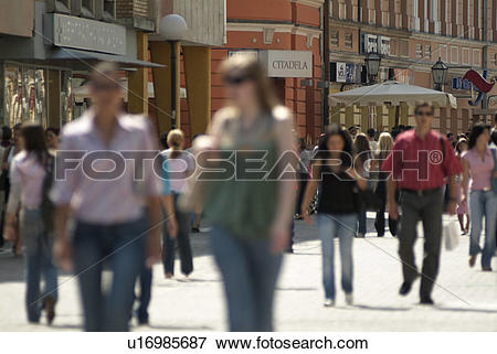 Picture of Hustle and bustle of a crowded European city street.