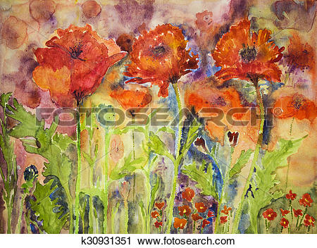 Clipart of Hustle and bustle of red poppies k30931351.