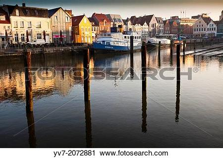 Stock Photography of Port of Husum at dawn. Husum, North Friesian.