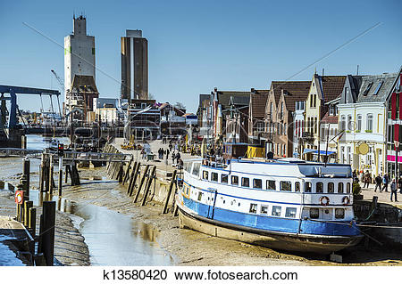 Stock Photography of Port of Husum at low tide k13580420.