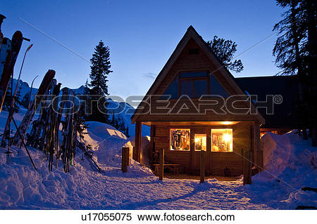 Stock Image Of Fairy Meadows Backcountry Hut In Evening The