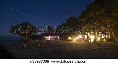 Pictures of Beach hut at night, Utopia Village, Utila, Bay Islands.