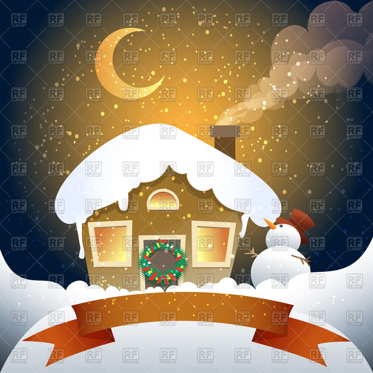 Winter hut with wrench on a door, snowman and red banner Vector.