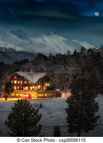 Clipart of Alpin hut in snow forest csp26595115.
