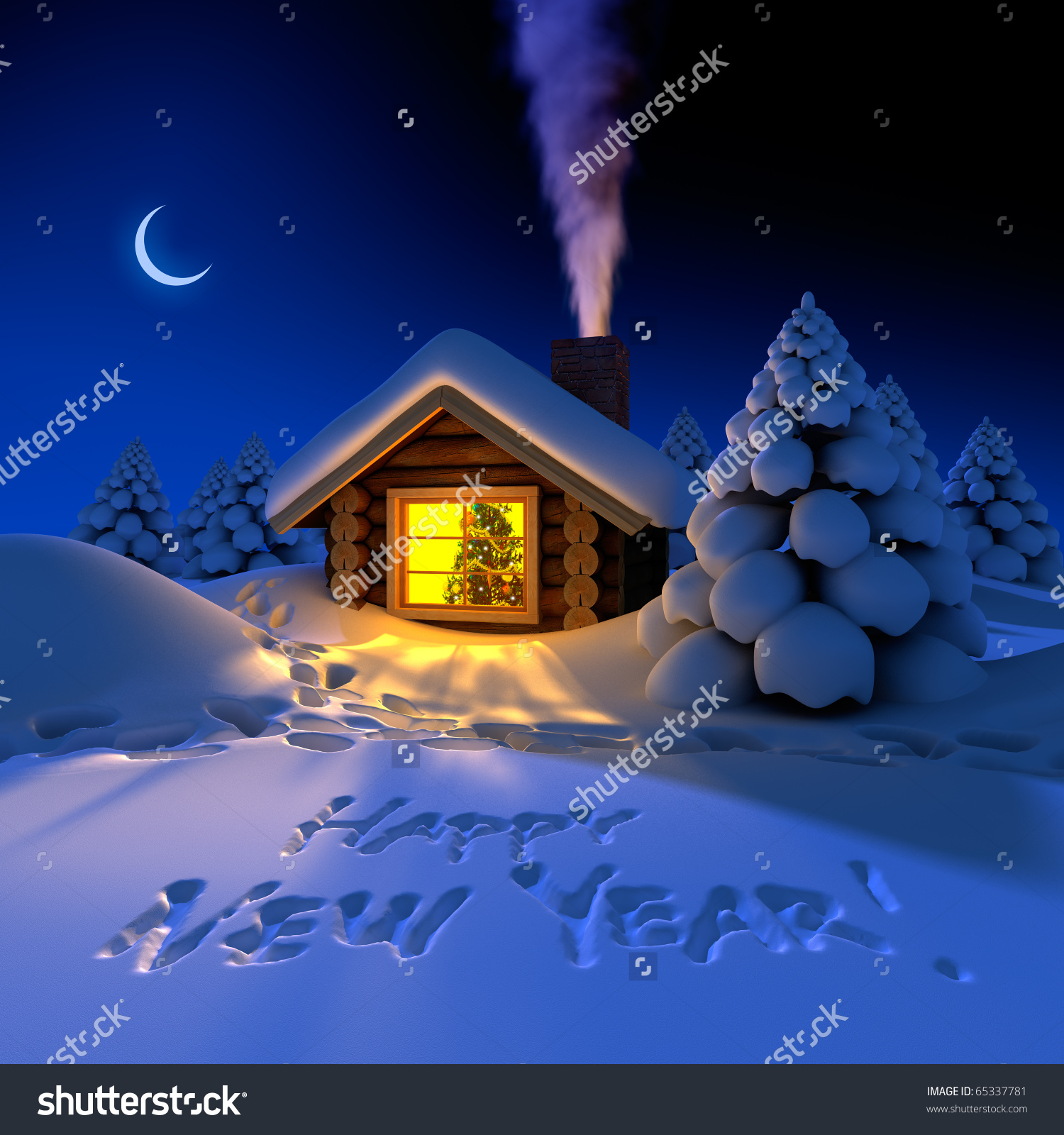 Small Cottage Fairy Forest Snowy New Stock Illustration 65337781.
