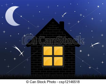 Vector Clip Art of Night sky and house, vector eps10 illustration.