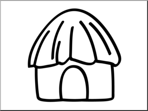 Clip Art: Basic Words: Hut B&W Unlabeled I abcteach.com.