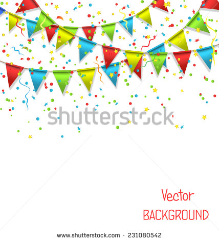 Celebrate Background Party Flags Confetti Vector Stock.