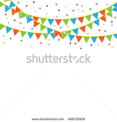 Celebrate Banner Party Flags Confetti Vector Stock.