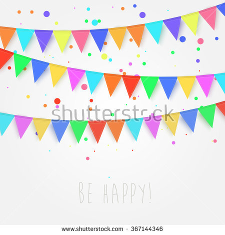 Illustration Party Dark Background Bunting Flags Stock.