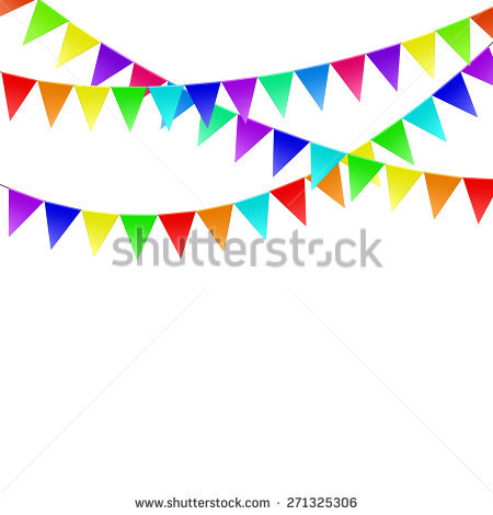 Celebrate Background Party Colorful Flags Vector Stock.