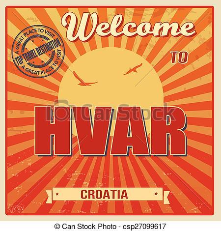 Vector Clip Art of Hvar retro poster.