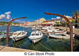 Stock Photography of Town of Stari Grad on Hvar island waterfront.