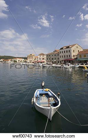 Stock Photo of Croatia, Hvar Island, Stari Grad, boat anchoring.