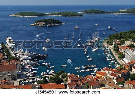 Stock Photography of Harbor of old town Hvar on island Hvar.