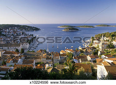 Stock Images of Rooftop View Over a Town on Hvar Island, Croatia.