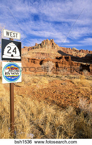 Stock Images of Morning light on The Castle and Highway 24/Scenic.