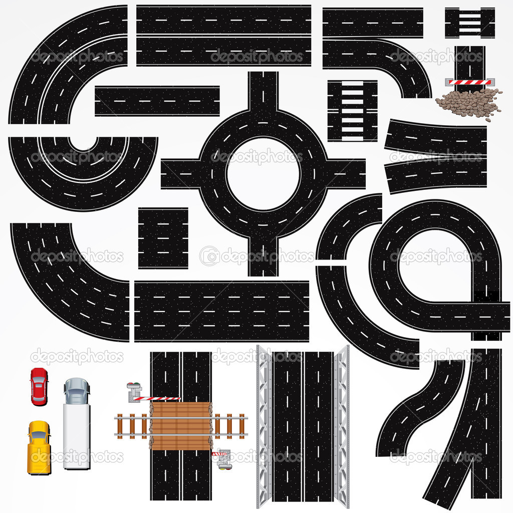 City Curved Road Clipart.