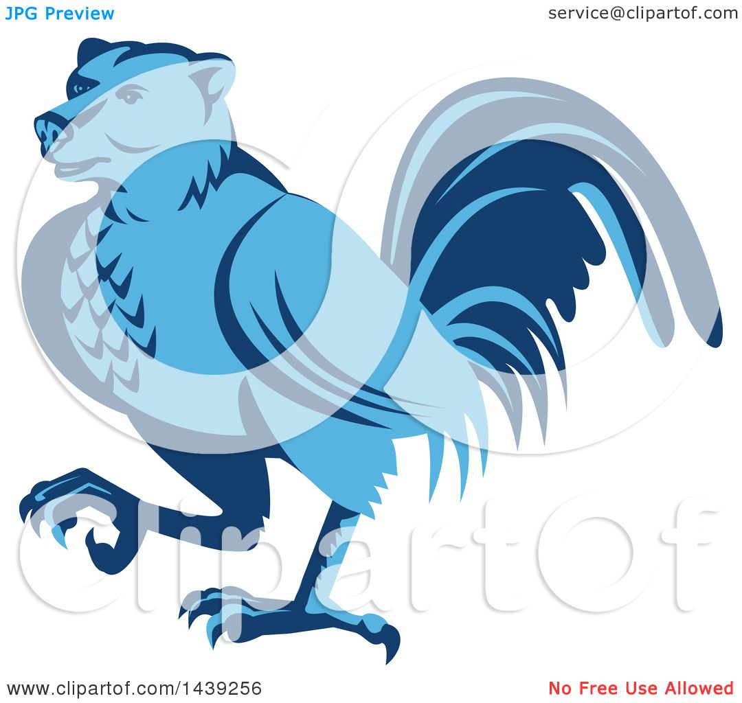 Clipart of a Retro Blue Half Bear Half Chicken Hybrid Marching.