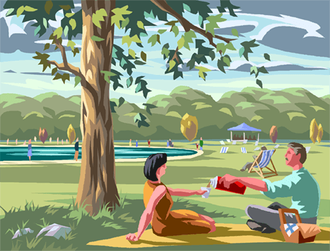 Hyde Park with the Serpentine Lake Royalty Free Vector Clip Art.