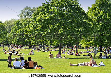 Stock Photograph of England, London, Hyde Park. Crowds of people.