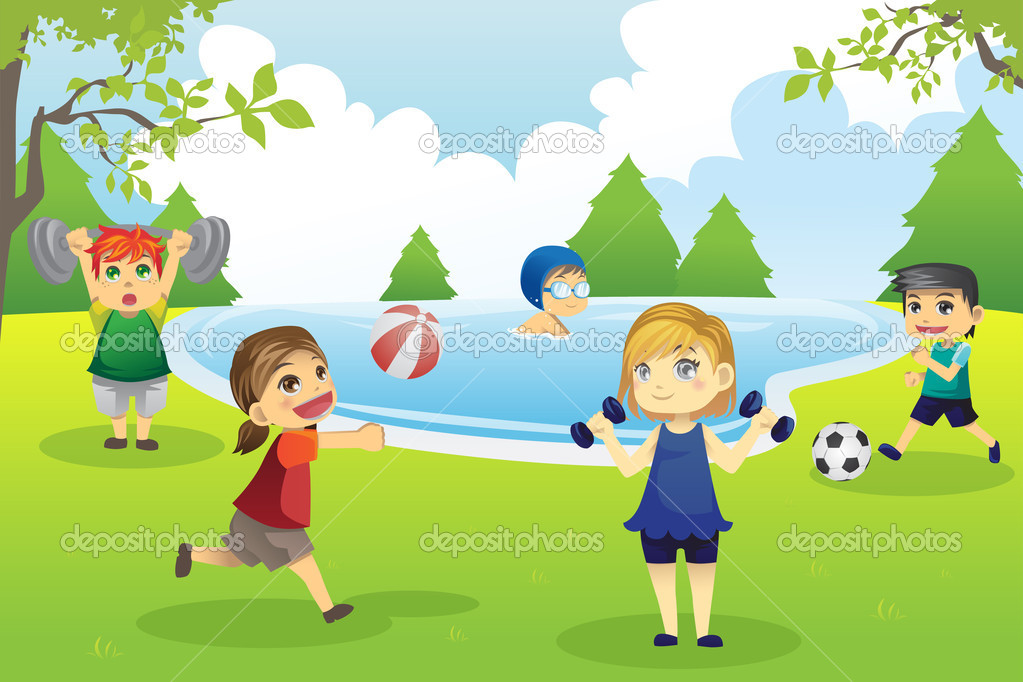 Kids exercising in park — Stock Vector © artisticco #9328546.