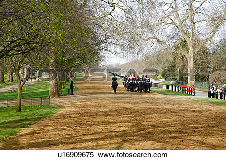 Stock Image of England, London, Hyde Park. Household Cavalry.