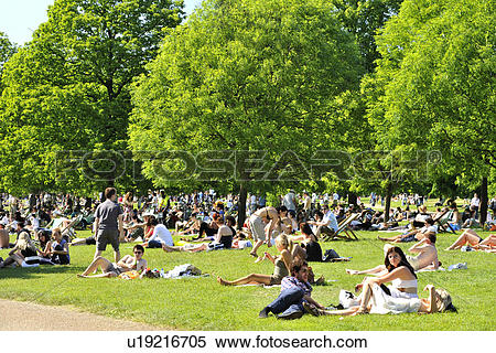 Stock Image of England, London, Hyde Park. Crowds of people.