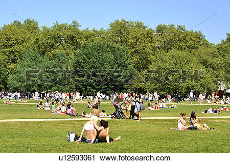 Stock Photography of England, London, Hyde Park. Crowds of people.