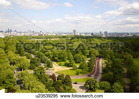 Stock Image of England, London, Hyde Park. Aerial view of Hyde.