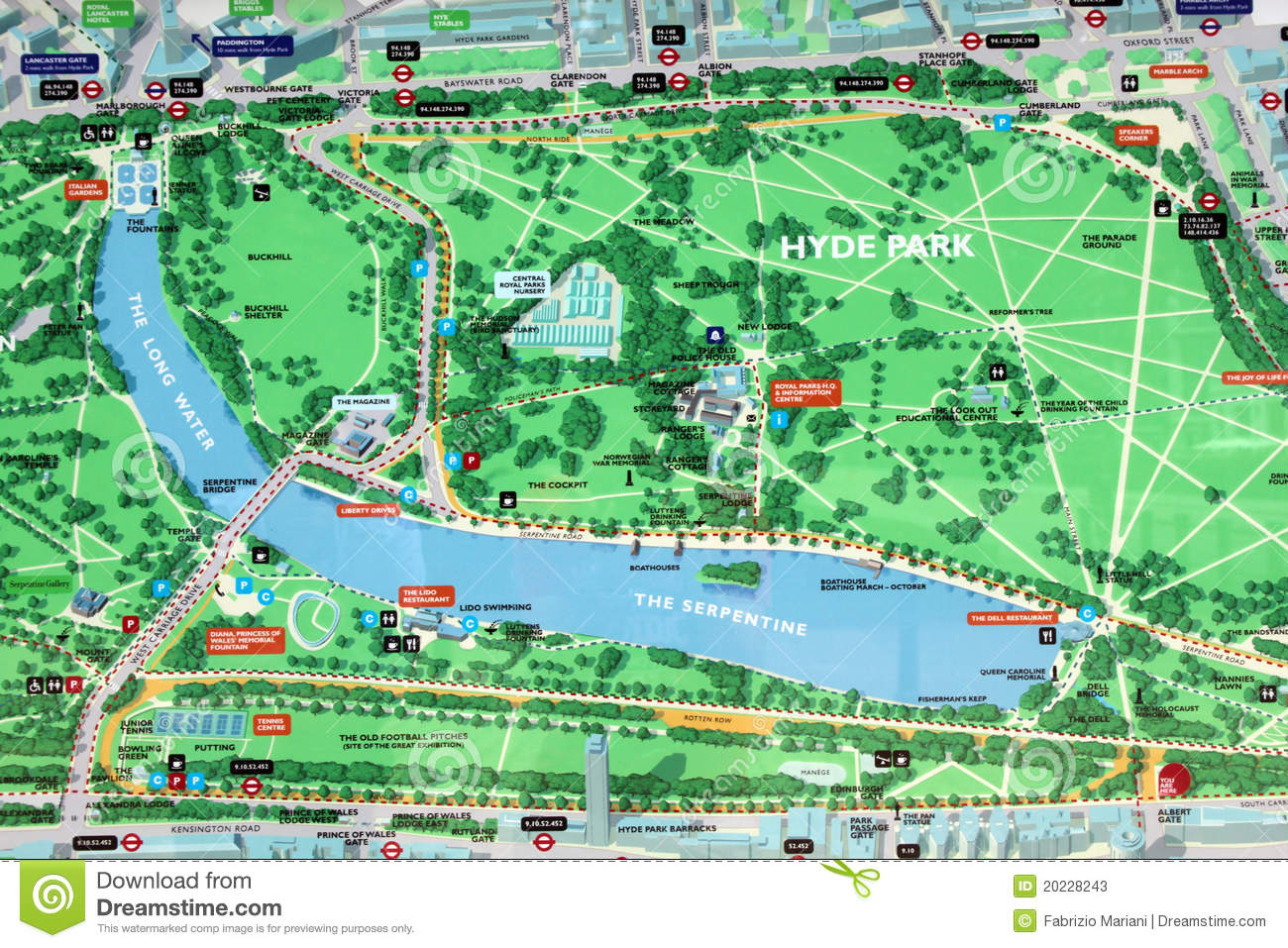 Hyde Park Map Sign Editorial Stock Photo.