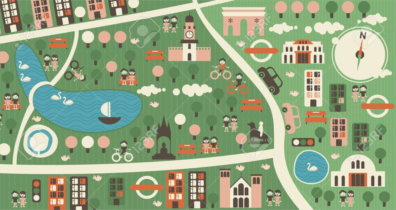 Cartoon Map Of Hyde Park London Royalty Free Cliparts, Vectors.