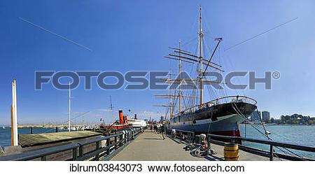 "Stock Photo of ""Balclutha"""""""", a three masted sailing ship at the."