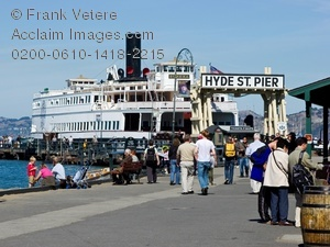 Stock Photo of the Restored Eureka Ferry at Hyde Street Pier, San.